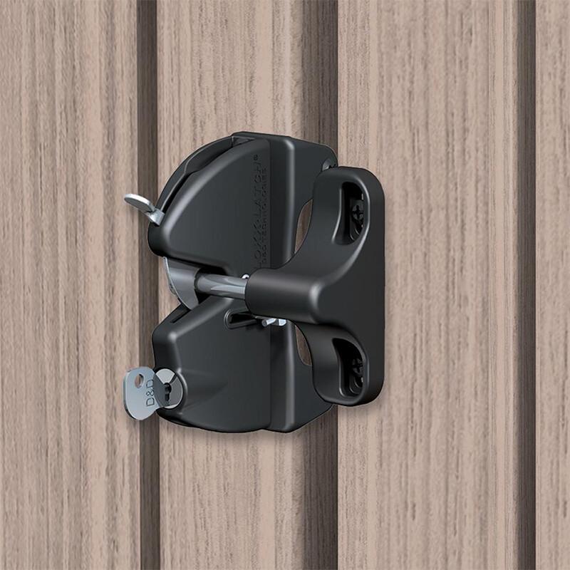D&D LokkLatch – Poortslot met cilinder – Sleutelbediend – Zwart